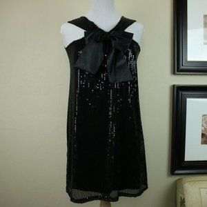 Romeo & Juliet Black Sequin Bow Dress Halter Neck